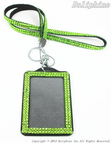 Multi Colors Rhinestone Crystal Bling Necklaces LANYARDs Keychain Key Holder & Vertical ID Badge Holder (Lime Green)