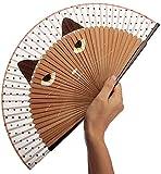 Black Sugar - Abanico plegable de seda con ventilador de bambú, gato, baile de oficina, cosplay, disfraces, bodas, fiestas, casas, decoración de bricolaje café Talla única