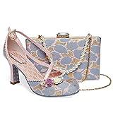Zapatos de tacón Mediano para Mujer, Elegantes, para Fiesta Nocturna, con diseño de Botas, Color Lila y Rosa, Color Azul, Talla 42 2/3 EU