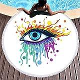 Runde Strandtuch Übergroße Dicke Decke,Mikrofasergewebe Mit Quastenfransen,Extra Großer Bunter Graffiti Eye Druckteppich,Schnell Trocknende Sandfreie Lagermatte Für Erwachsene,Frauen,Männer,Kinde