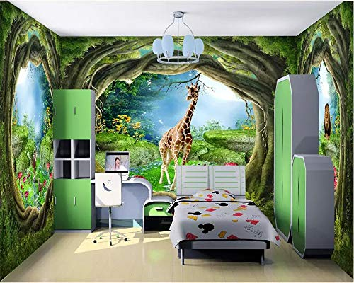 Fototapete Wallpaper 3D Fantasie Feenwald Großer Baum Tier Ganzes Haus Wandtattoo Kinderzimmer Dekoration 3D Wallpaper, 300 × 210Cm