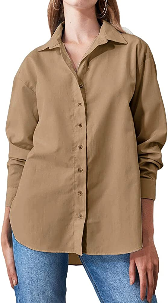 Partvece Women's Button Down Shirt Casual Solid Color Long Sleeve Tops Roll Up Cuffed Sleeve Blouses