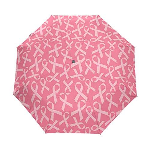 Trushop Paraguas Automático Pink Ribbon Seamless Cancer Medical Windproof Automati Umbrella