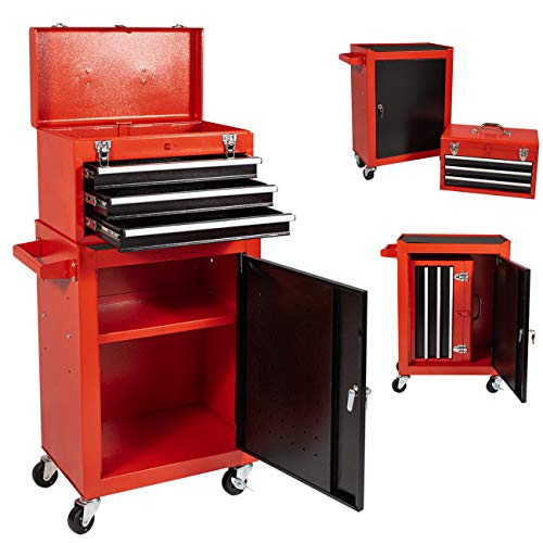 Tool Chest&Tool Box,Rolling Tool Chest,Tool Cabinet with 4 Wheels,Tool Chest with 3 Drawers,Large Capacity Removable Toolbox with Lock for Garage and Warehouse (Black&Red)