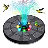 Solar Fountain with LED Light,1600mAh Battery Upgraded Solar Water Pump Bird Bath with 4 in 1 Nozzle , XIANNVV Floating Solar Powered Water Fountain for Outdoors, Ponds, Pools, Fish Tanks, Gardens