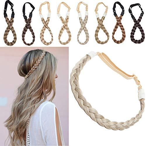 Extensions Haarband geflochtene Braids Haar Haarverlängerung verstellbare Stirnband elastische Stretch Haarteil Beauty-Accessoire für Frauen Sandy Blonde & Blond Bleichen S-1.5cm(0.6