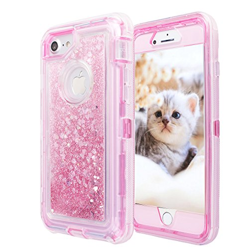 iPhone 8/7/6s/6 Glitter Sparkle Quicksand Case, AICase Heavy Duty Shockproof Hybrid 3D Star Liquid Floating Bling Case Soft TPU Frame & PC Plastic Back Cover for Apple 4.7'' iPhone 8/7/6s/6 (Pink)