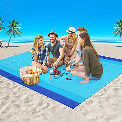 GZTLJ Beach Blanket, Large Sandproof Picnic Blanket Compact for 4-7 Persons Waterproof Quick Drying Beach Mat Made by Premium Nylon Pocket Picnic Sheet for Outdoor Travel (78
