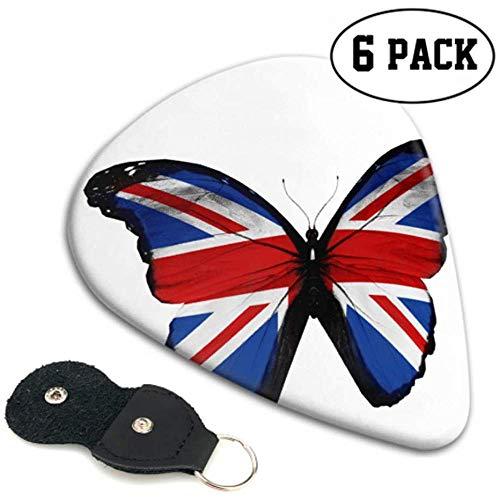 Engelse vlag vlindergitaar, geïsoleerd op bas, gitaar, pickhouder, gitaar, pickhouder, 6 pak heavy, elektrische akoestische gitaarsT