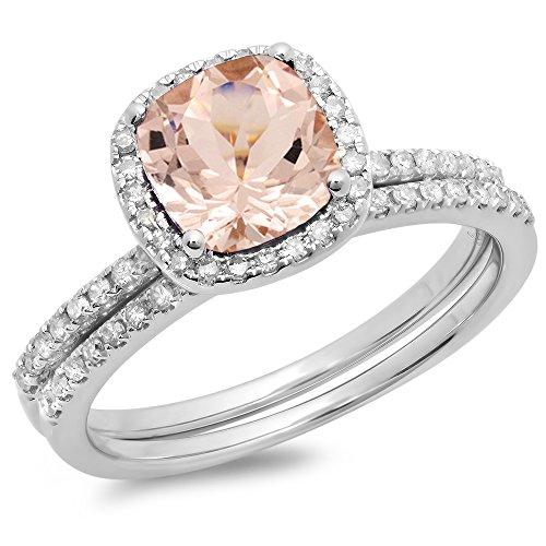 DazzlingRock Collection 10K Oro Cushion Cut Morganite y Corte Redondo Blanco Diamante señoras Novia halo Anillo de Compromiso Conjunto