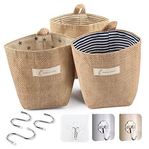 Hotipine 3 PCS Retro Bolsa de Almacenamiento para colgar, algodón lino plegable cesta con asa y 6 ganchos para juguetes, maquillaje u objetos pequeños Cocina casera (14 * 13 cm)