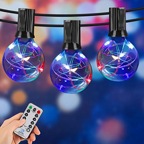 Eicaus Multicolor String Lights, Waterproof 32ft LED Light Strand with Wireless Remote Control, Dimmable Outdoor/Indoor Decorative Lighting for Wedding Party Patio Wedding Christmas