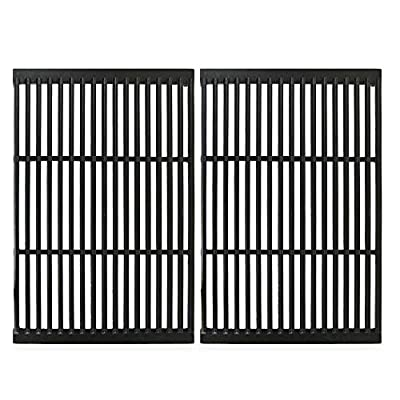 Uniflasy Porcelain Coated Cast Iron Cooking Grate for CharBroil, Brinkmann, Charmglow, Broil-Mate, Grill Pro, Grill Zone, Sterling, Turbo, Grill Chef and Others Gas Grill, 19 x 12.5 Inch, 2 Pack