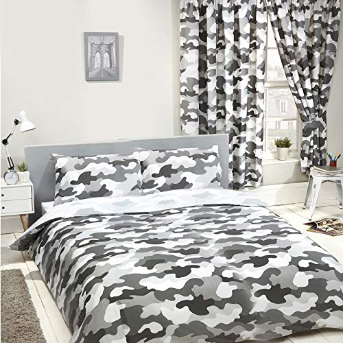Price Right Home Grey Army Camouflage Reversible Double Duvet Cover and Pillowcase Set