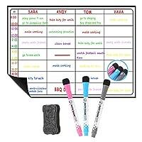 ホワイトボード スケジュール管理,けホワイトボード,ホワイトボード メモ,オフィスメモ 磁石ホームオフィス用 マグネットホワイトボード薄型ボード 落書きシートメッセージボードマグネット冷蔵庫 (ホワイト, 3本のペン)