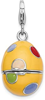 925 Sterling Silver Rh 3 D Enameled Egg Lobster Clasp Pendant Charm Necklace Holiday Easter Fine Jewelry Gifts For Women For Her