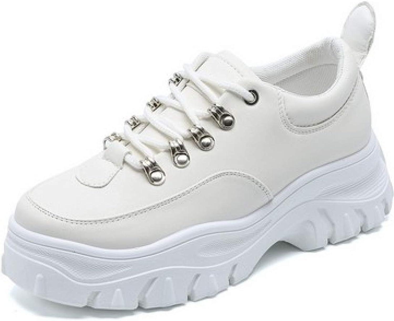 JOYBI Women Platform shoes Premium PU Leather Cozy Lining Lightweight White Casual Chunky Ggy Sneakers
