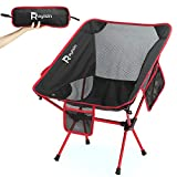 Rayisin Campingstuhl, Outdoorstuhl leicht bis 150 KG, Faltstuhl kleines Packmaß, Strandstuhl aus Alulegierung und Oxford-Stoff, geeignet für Outdoor, Picknick, Wandern, Fische (Rot-schwarz)