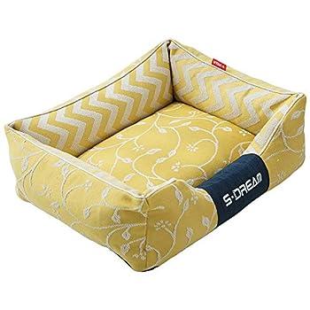 Triplsun Lit carré en Toile de Coton, lit de Chien lit de Chat lit de Matelas pour Animaux de Compagnie