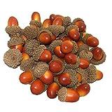 Wenxiaw Bellota Falsa Artificial Decoración Bellota Fruta para el Decoración de la Cocina Decoración de Navidad Decoración de Dispersión de Mesa de Otoño Artesanías, 50 Piezas (Marrón)