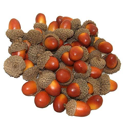 Wenxiaw Bellota Falsa Artificial Decoración Bellota Fruta para el Decoración de la Cocina Decoración de Navidad Decoración de Dispersión de Mesa de Otoño Artesanías, 50 Piezas (Marrón) 🔥