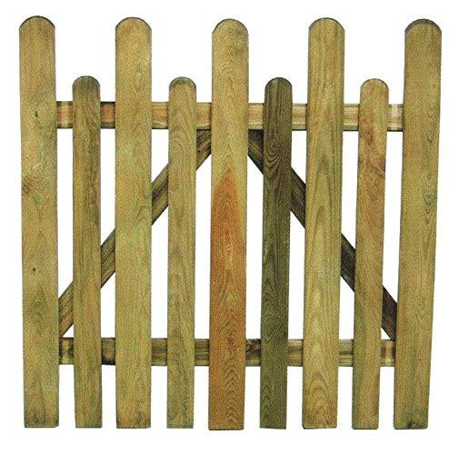 HOMEGARDEN Cancello per staccionata in Legno di Pino per recinto Giardino Cm 100x100