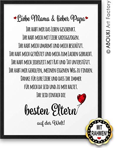 Beste Eltern ABOUKI Kunstdruck Geschenk-Idee Geburtstag Weihnachten für Mutter Mama Vater Papa Frau Mann mit schwarzem Holz-Rahmen A4