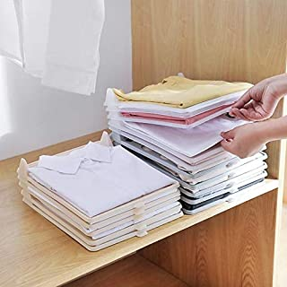 mechdel -Plastic Closet Drawer Wardrobe Organizer Cabinet Folding Board for Shirts, T-Shirt , Jeans, Storage Rack (Pack of...