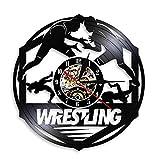 W tlers Grappling Fight Martial Wall Art Reloj de pared Wr tling Deporte de combate disco de vinilo reloj de pared de regalo de combate 30,5 cm