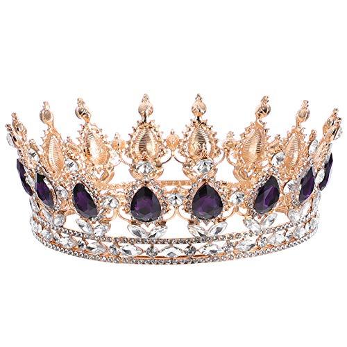 Lurrose Corona de reina barroca redonda corona dorada rhinestone novia tiara para...