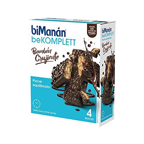 BiManán beKOMPLETT - Bombones crujientes de barquillo recubiertos con chocolate negro y arroz hinchado. Ricos en fibra. - Caja de 4 unidades