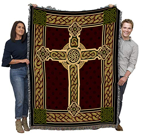 Cead Mile Failte - Celtic Knot Cross - Cotton Woven Blanket Throw - Made in The USA (72x54)