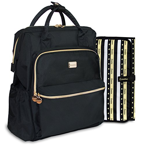 Premium Diaper Bag Backpack by Liname - Extra-Wide Zip Opening, Large Capacity & Stylish Design - Includes Bonus Stroller Straps & Waterproof Changing Pad - Easy to Clean and Looks Great