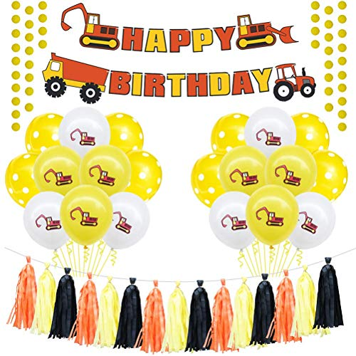 GOHHK 20pcs Construction Themed Balloons Set Happy Birthday Truck Banner Dump Truck Balloons Paper Tassel Banner Latex Confetti Balloons Party Decoration Set