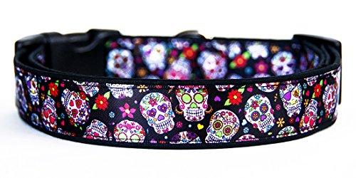 Calaveras De Azucar Dia De Los Muertos Sugar Skull Day of The Dead Collar Perro Hecho A Mano Talla M Handmade Dog Collar