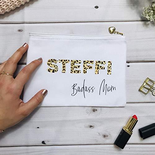 Geschenk für die Schwester Tante Mama Freundin Muttertag - Kosmetikbeutel personalisiert Leoprint