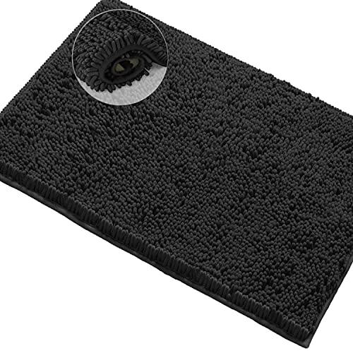 Black Bathroom Rug, Non-Slip Bath Mat,15 x 23'' Machine-Washable Bath Mats with Water Absorbent Soft Microfibers Chenille Plush Bath Rugs