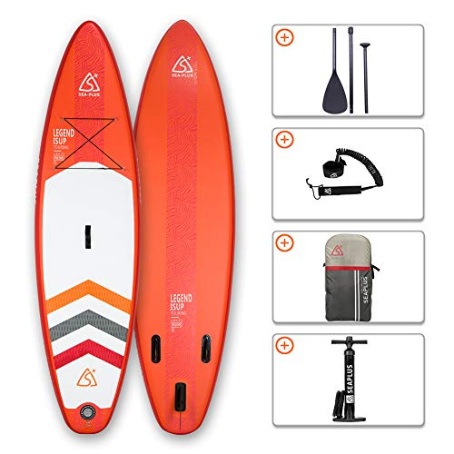 SEAPLUS Tabla de Paddle Surf Hinchable Sup Inflatable Stand up Paddle Board LB- R 10#8#*32#*6# con Inflador/Remo de Aluminio/Mochila/Leash/Fin,  Carga hasta 130 Kg