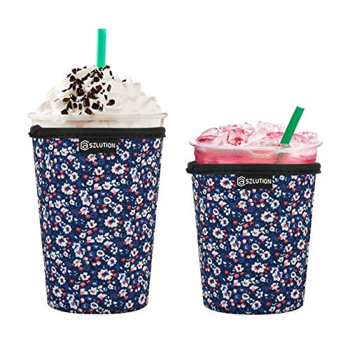 Premium Neoprene Coffee Cup Sleeves Cover 12OZ-24OZ Resuable Iced Insulated Coffee Cup Sleeves for Cold Beverages Starbucks, McDonalds, Dunkin Donuts and More (Flowers 16OZ+20OZ)