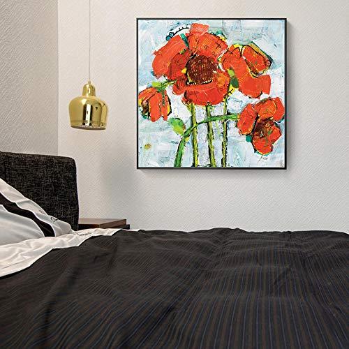 NLZNKZJ Rode Abstracte bloemen Canvas foto's aan de muur, moderne bloemen posters en afdrukken op doek voor de woonkamer wand 60x60cm zonder lijst