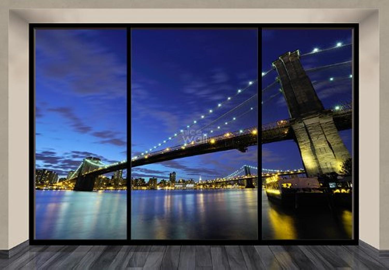 muy popular Papel pintado pintado pintado diseo del puente de Brooklyn de Nueva York en la noche de arte gigante de ventana  primera vez respuesta