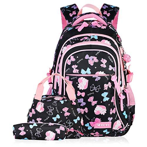 Schulranzen Mädchen,Fanspack Schulrucksack Mädchen Mädchen Rucksack Schule Teens Schulranzen Grundschule Klasse 2-6 Schultasche 3 in einem (Schultasche, Bleistifttasche, Lunchpaket)