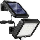 Proiettore solare con 56 LED, luci solari XVZ con rilevatore di movimento, impermeabile IP65, applique solare per terrazza con cavo da 16,5 piedi [Classe energetica A +++]