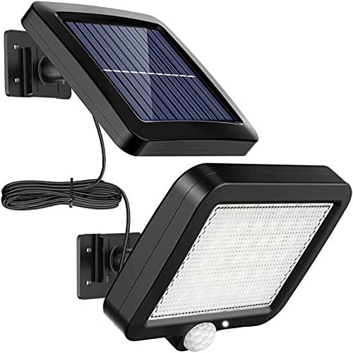 Luz de Inundación Solares con 56 LEDs, XVZ Lámparas solares con detector de movimiento, IP65 impermeable, lámpara solar de pared para terraza con cable de 16,5 pies [Clase energética A+++]