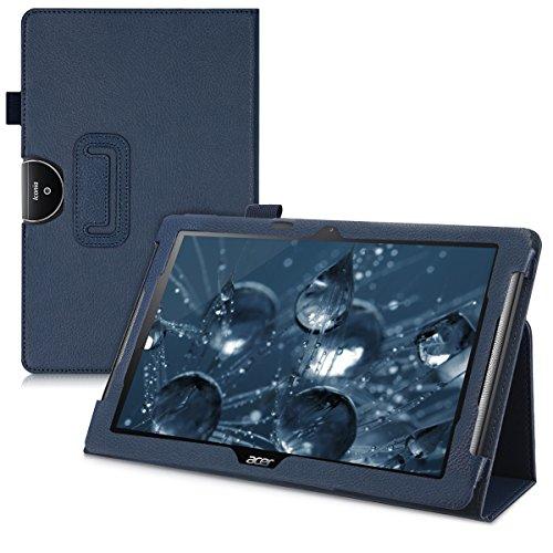 kwmobile Hülle kompatibel mit Acer Iconia One 10 (B3-A40) - Slim Tablet Cover Hülle Schutzhülle mit Ständer Dunkelblau