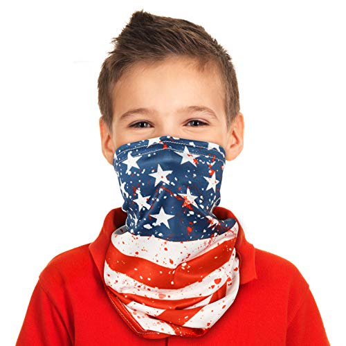 Kids Neck Gaiter - Sports Youth Neck Gaiters Face Cover Headband, Neck Scarf for Kids, UV Protection Face Coverings for Children, Fishing Bandanas Neck Gaiter American Flag