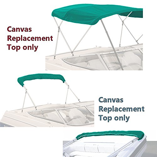 """SavvyCraft 4 Bow Bimini Replacement Top Canvas Cover 4 Bow 96"""" L 79""""-84"""" W Teal Color with Zippered Pockets"""