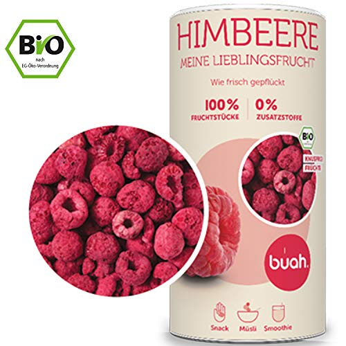 BUAH Gefriergetrocknete Himbeeren BIO Getrocknete Himbeeren ohne Zucker 100% Gefriergetrocknet Früchte (Vegan Glutenfrei Laktosefrei) (132g) in DE hergestellt