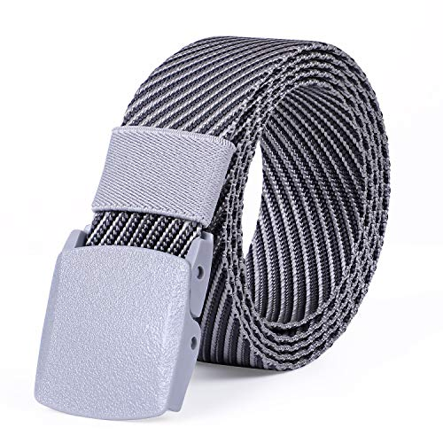 JASGOOD Nylon Canvas Breathable Military Tactical Men Waist Belt With Plastic Buckle (I-Grey, Suit...