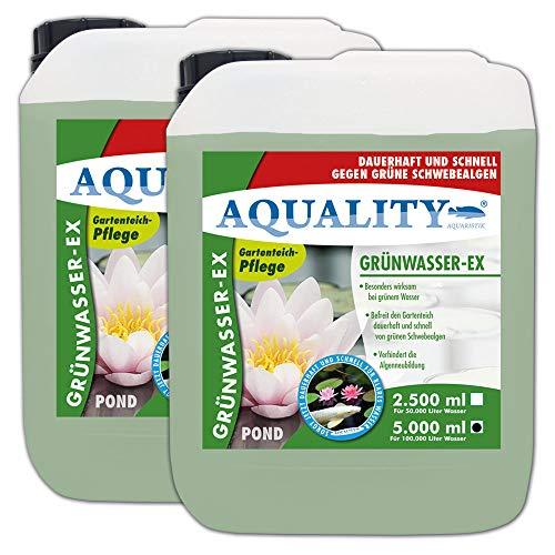 AQUALITY Gartenteich Grünwasser-EX (GRATIS Lieferung in DE - Besonders wirksam bei grünem Wasser, dauerhaft und schnell, grüne Schwebealgen, verhindert die Algenneubildung), Inhalt:10 Liter